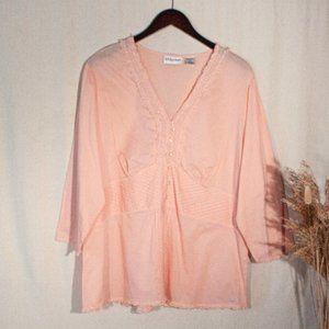 Lace Trim Button Up Blouse